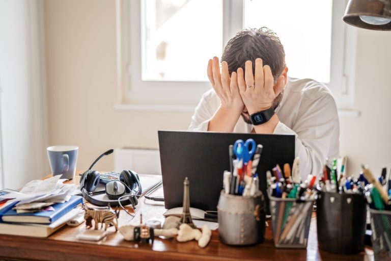 man is frustrated and hates his job