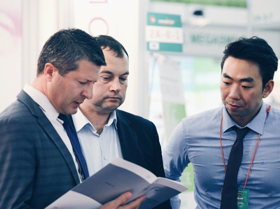 Three businessman in a disagreement. .