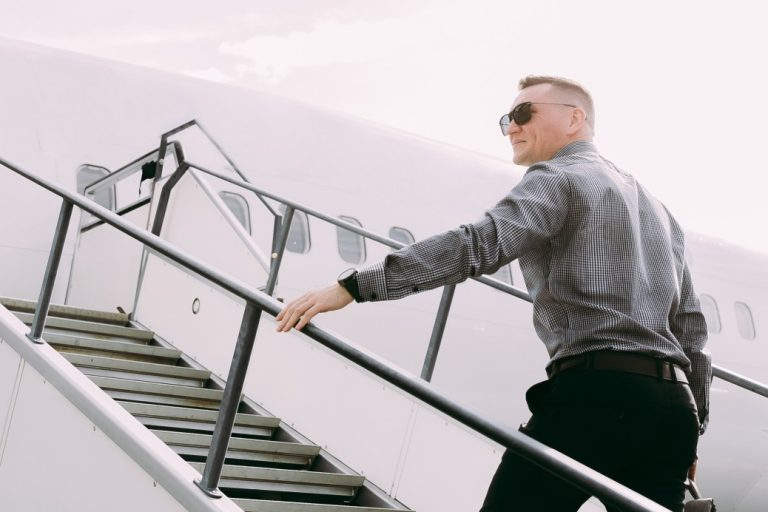 businessman climbs