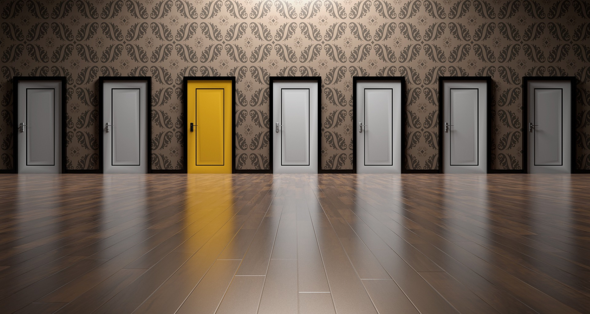 multiple job offers signified by a yellow doors in between 6 white doors