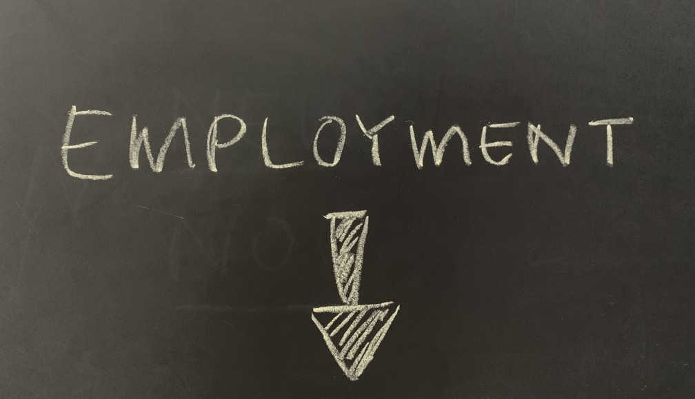 employment with an arrow pointing down