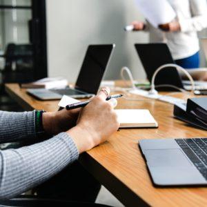 female professional resume writer at work
