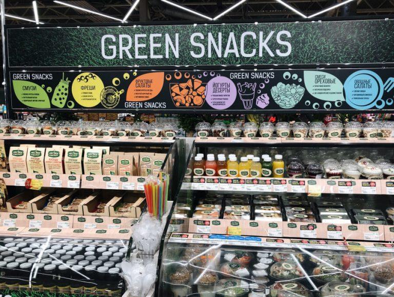 Healthy office snacks selection in a supermarket