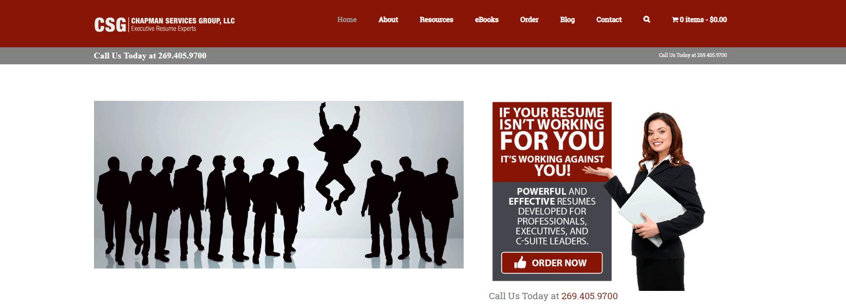 10 Best Resume Writers — screenshot of Chapman Services' homepage
