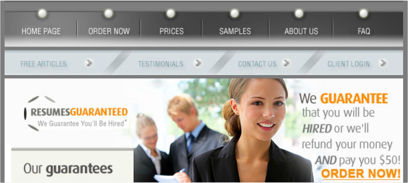 10 Best Resume Writers — screenshot of Resumes Guaranteed's homepage