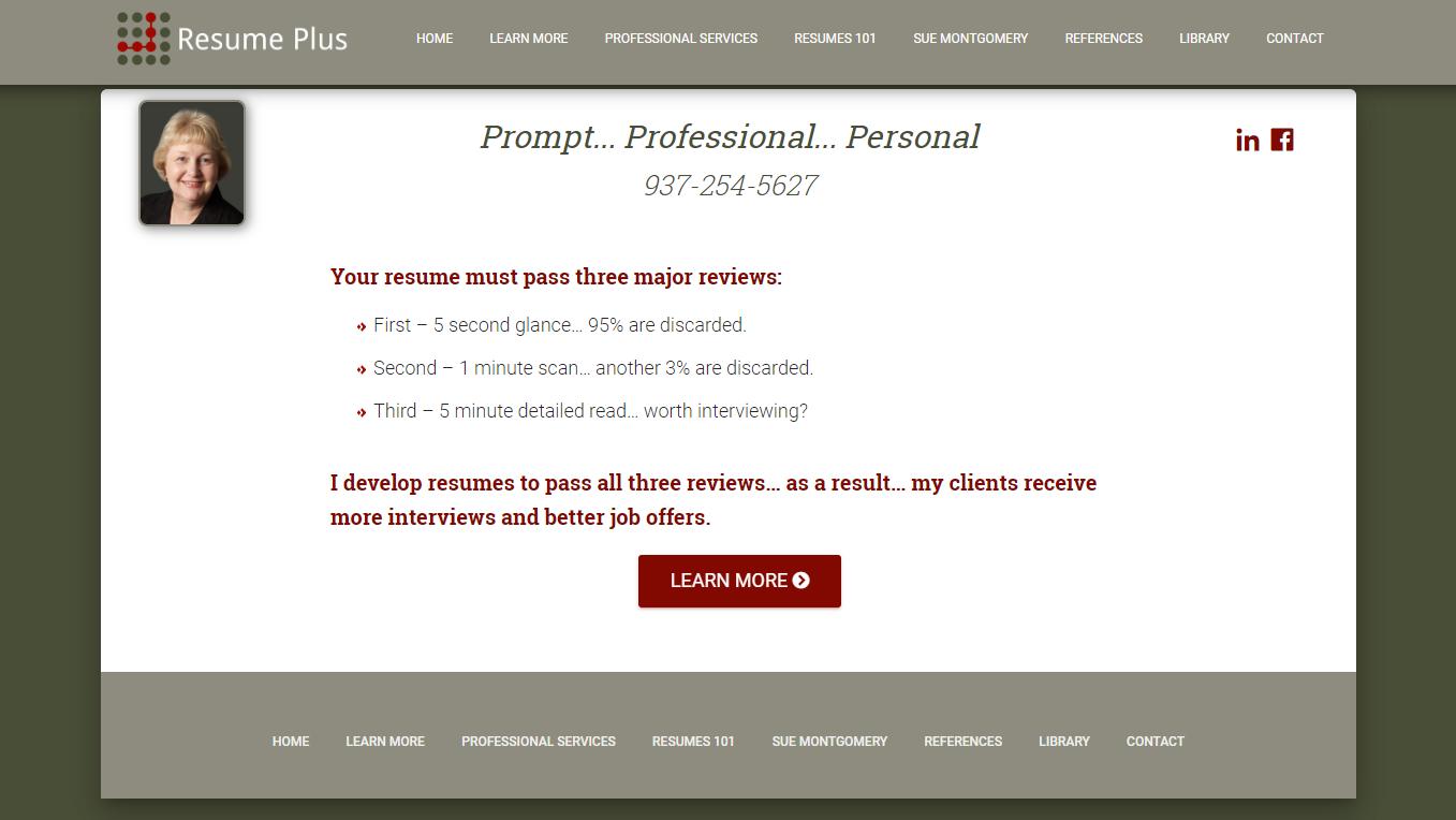 10 Best Resume Writers - screenshot of Resume Plus homepage