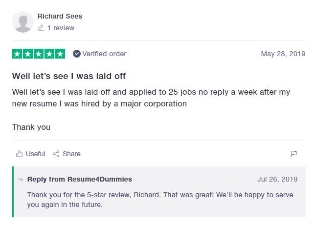 10 Best Resume Writers — screenshot of Resume4Dummies' TrustPilot review