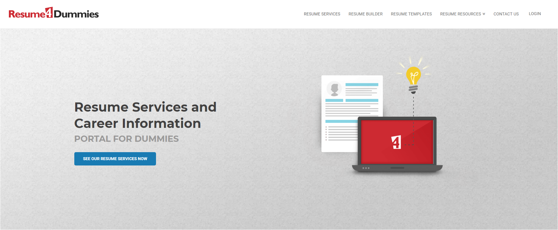 10 Best Resume Writers — screenshot of ResumeDummies' homepage