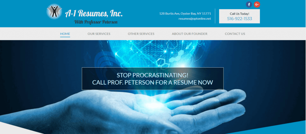A1 Resumes Inc. homepage - image of a hand with a globe