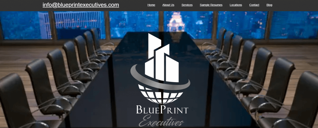 blueprint executives resume writing services banner with company logo on the globe