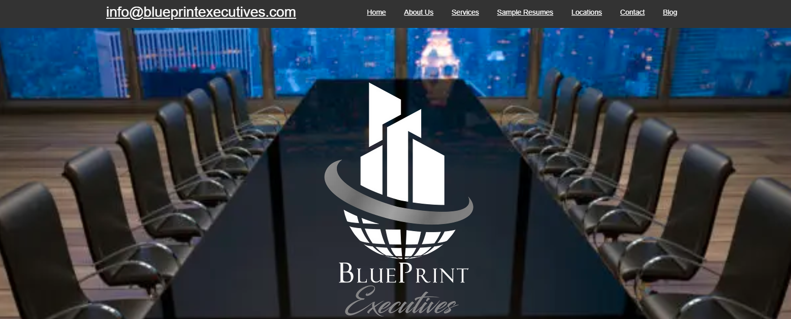 logo of blueprint executives buildings on top of the globe