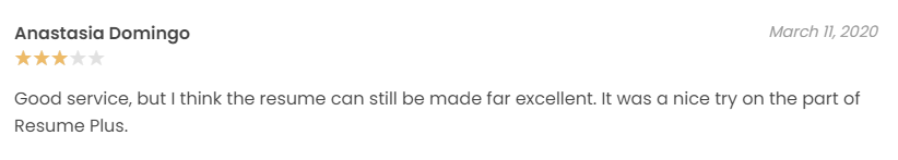3-star review from clients of ResumePlus