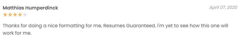 Review of clients for Resumes Guaranteed