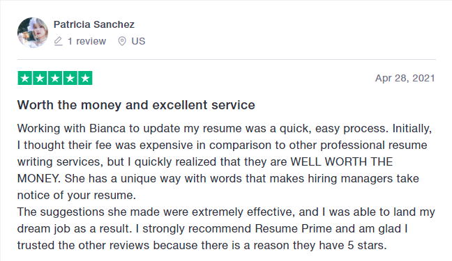 Trustpilot review on Resume Prime by client who hired one of the best resume services in New York