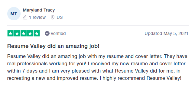 customer review on Resume Valley on Trustpilot for being one of the best resume services in New York