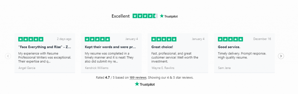 Resume Professional Writers client review as one of the best resume services in New York from Trustpilot reviews