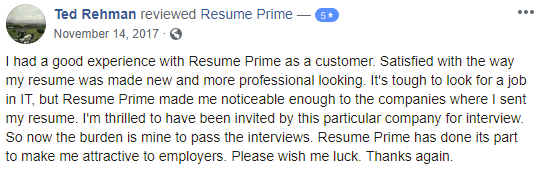 screen grab of review on Resume Prime by client who hired one of the best resume writing services New York job seekers can trust