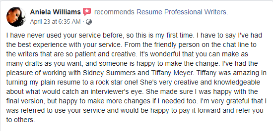 screen grab of FB review on Resume Professional Writers, one of the best resume writing services New York job seekers can trust