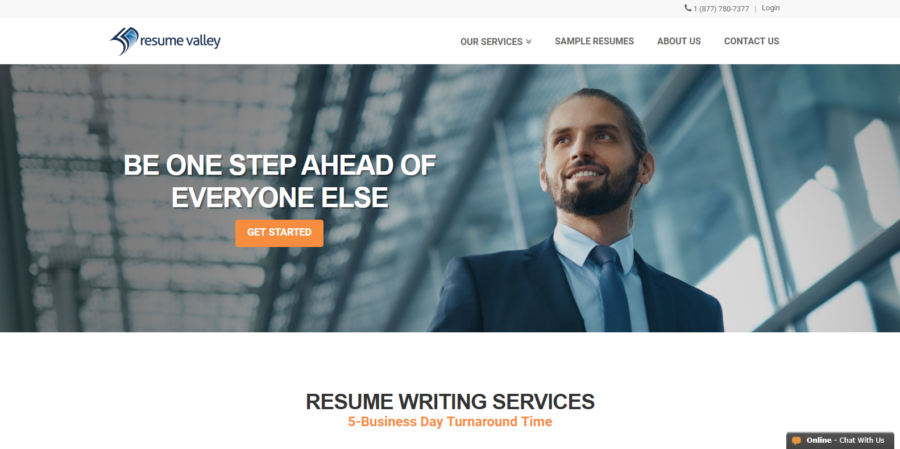screen grab of Resume Valley's banner featuring a man in a suit by the right most part of the screen
