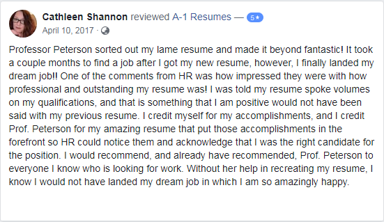 screen grab of a client review on A1-Resumes