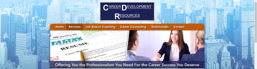 Career Development Resources banner with resume and three people shaking hands
