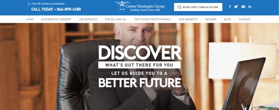 screen grab of Career Strategies Group's banner