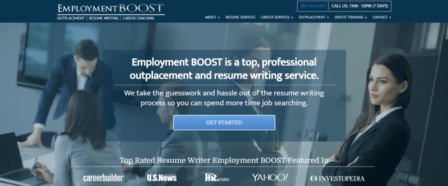 screen grab of Employment Boost's banner with four people in a meeting
