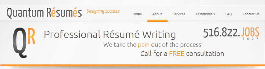 screen grab of Quantum Resumes' banner with its selling point as text