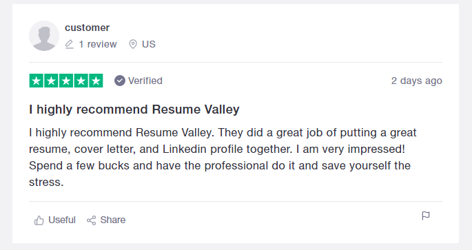 Trustpilot review of Resume Valley as top resume writing services