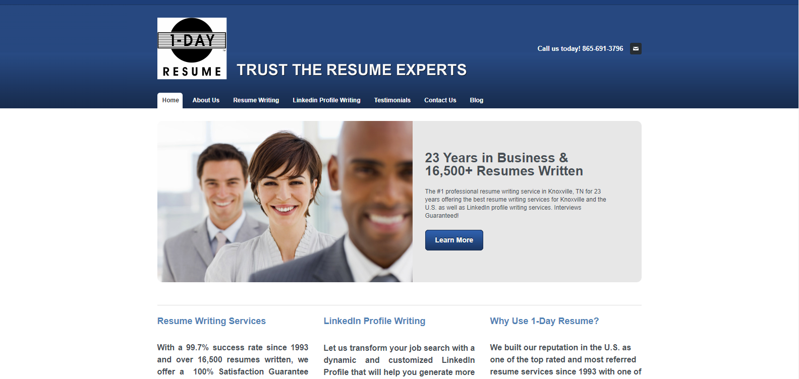 10 Best Military Resume Writing Services in 2021 – Screenshot of 1-Day Resume Homepage