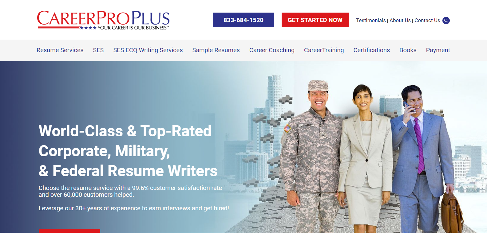 10 Best Military Resume Writing Services in 2021 – Screenshot of CareerPro Plus Homepage