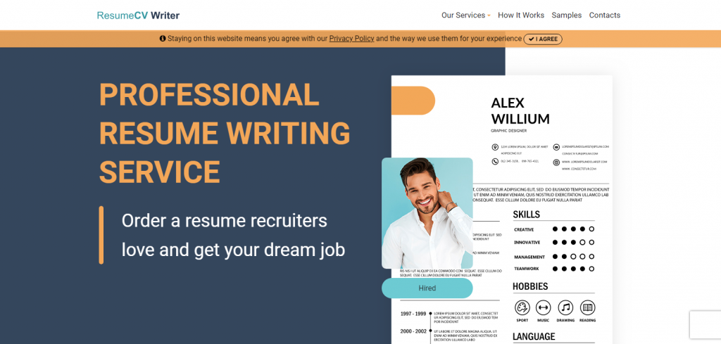 10 Best Military Resume Writing Services in 2021 – Screenshot of Resume CV Writer Homepage