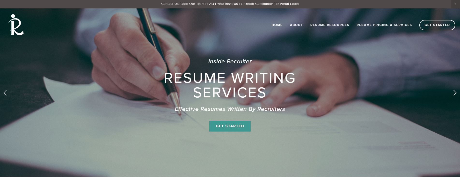 Screenshot of Inside Recruiter Homepage for Best Sales Resume Service