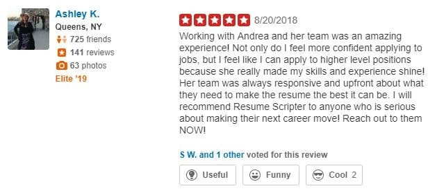 Yelp Review of Resume Scripter Sales Resume Service
