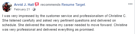 Facebook Review of Resume Target Sales Resume Service