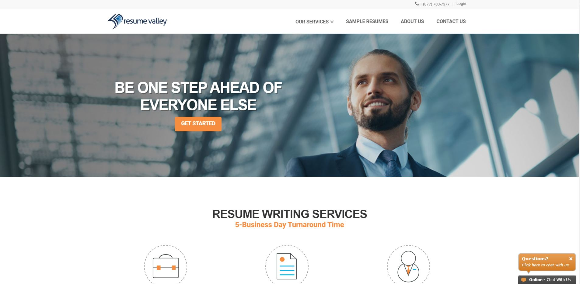 Screenshot of Resume Valley Homepage for Best Sales Resume Service