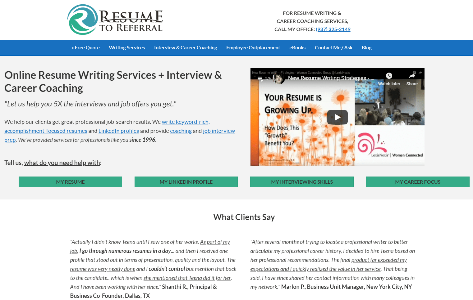 10 Sales Resume Service: Resume to Referral Hero Section