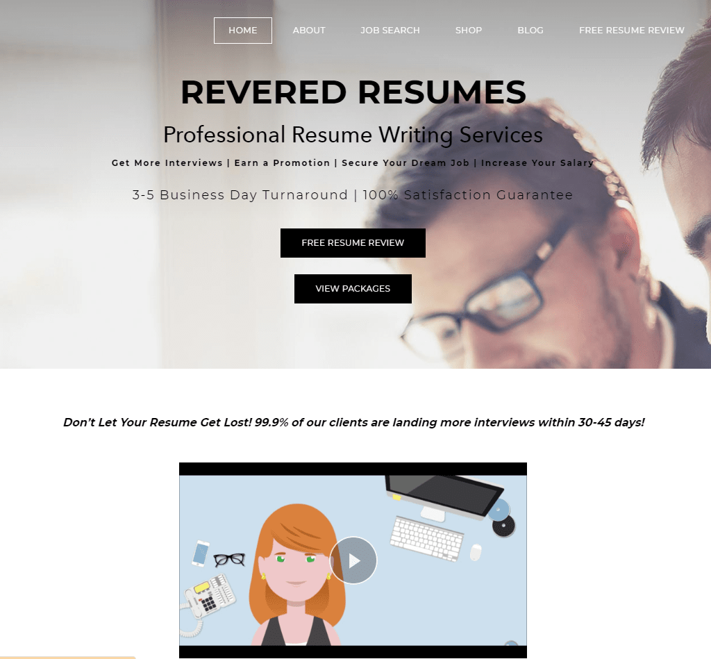 Screenshot of Revered Resumes Homepage for Best Sales Resume Service