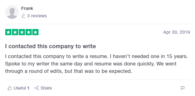 TrustPilot Review of Revered Resumes Sales Resume Service