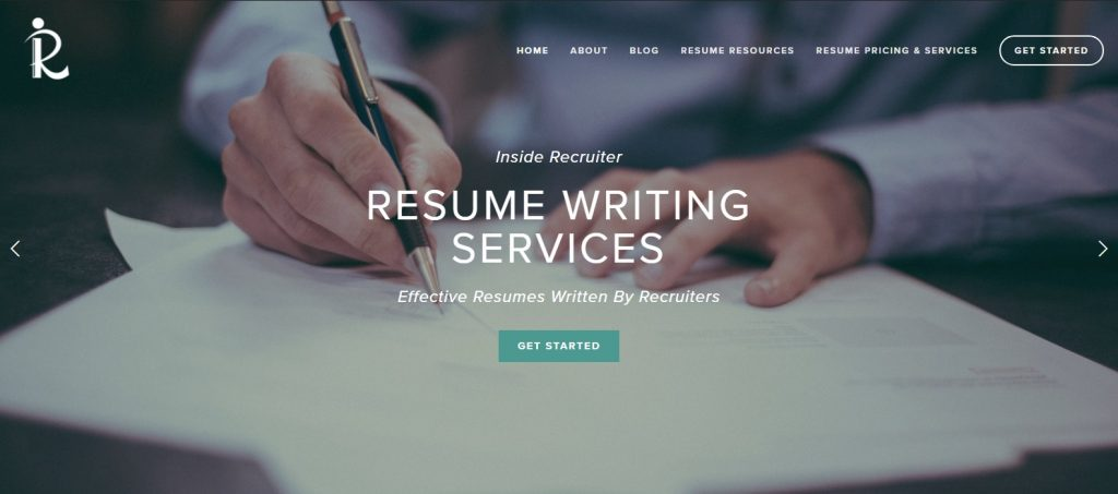 Screenshot of Inside Recruiter Homepage for Best Sales and Marketing Resume Writing Service