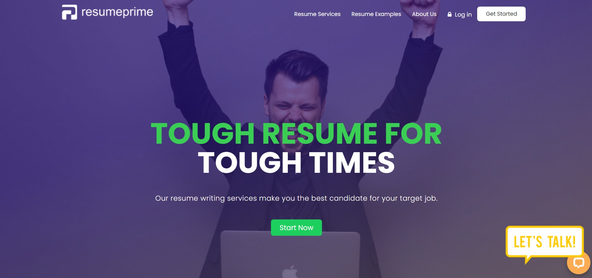 Screenshot of Resume Prime Homepage for Best Sales Resume Service
