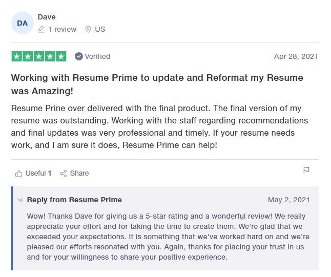 10 Best Sales and Marketing Resume Writing Services: Resume Prime Review (Trustpilot)