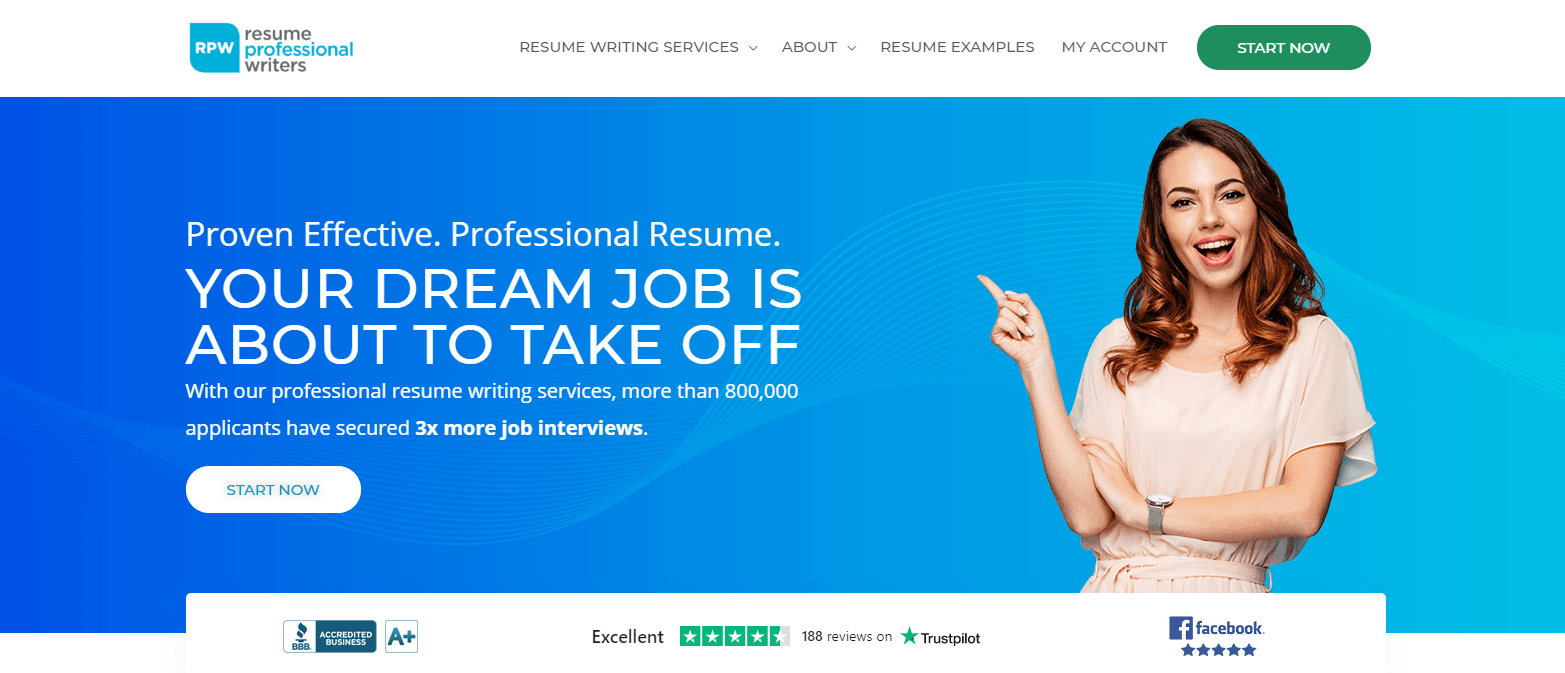 Screenshot of Resume Professional Writers Homepage for Best Sales Resume Service