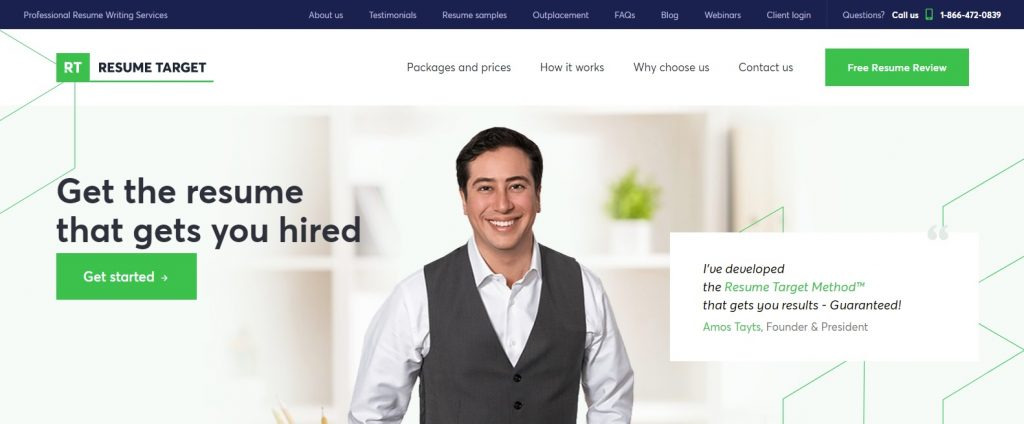 Screenshot of Resume Target Homepage for Best Sales and Marketing Resume Writing Service
