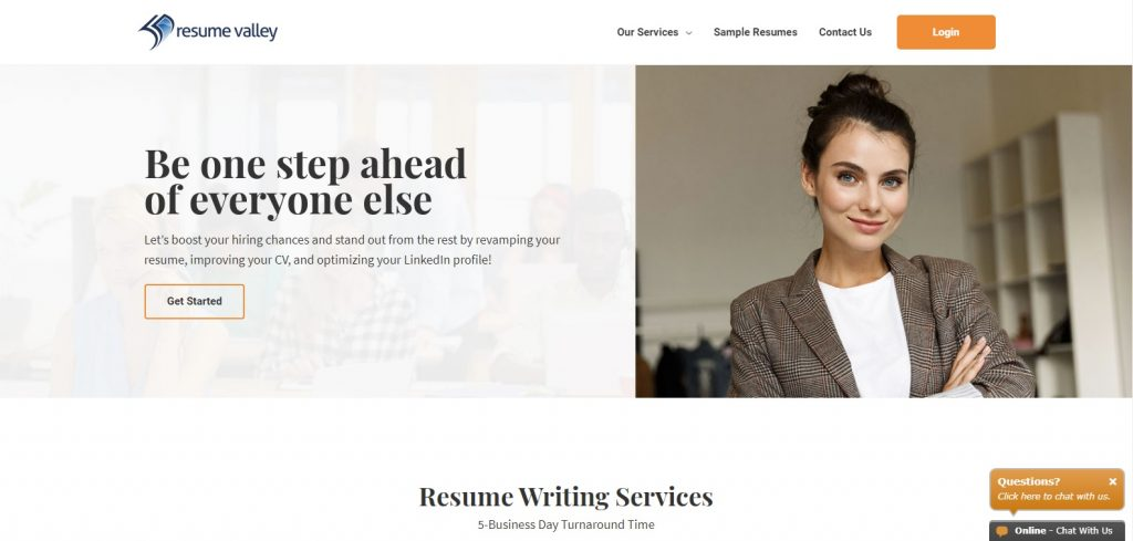 Screenshot of Resume Valley Homepage for Best Sales and Marketing Resume Writing Service