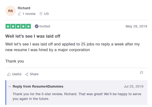 10 Best Sales and Marketing Resume Writing Services: Resume4Dummies Review (TrustPilot)