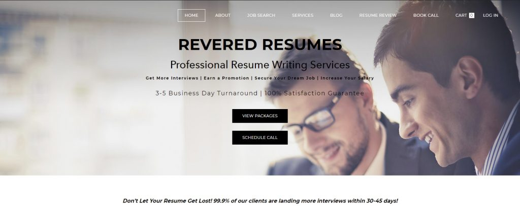 Screenshot of Revered Resumes Homepage for Best Sales and Marketing Resume Writing Service