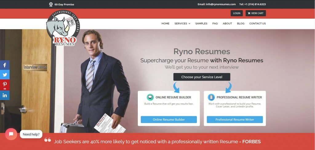 10 Best Sales and Marketing Resume Writing Services: Ryno Resumes Hero Section
