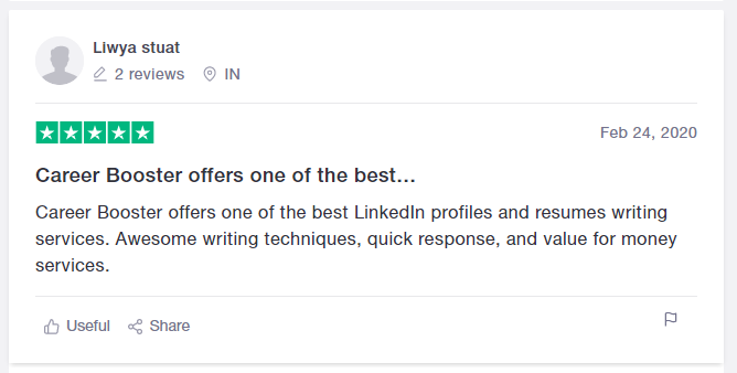 Career Booster review from Trustpilot for best IT resume services firm