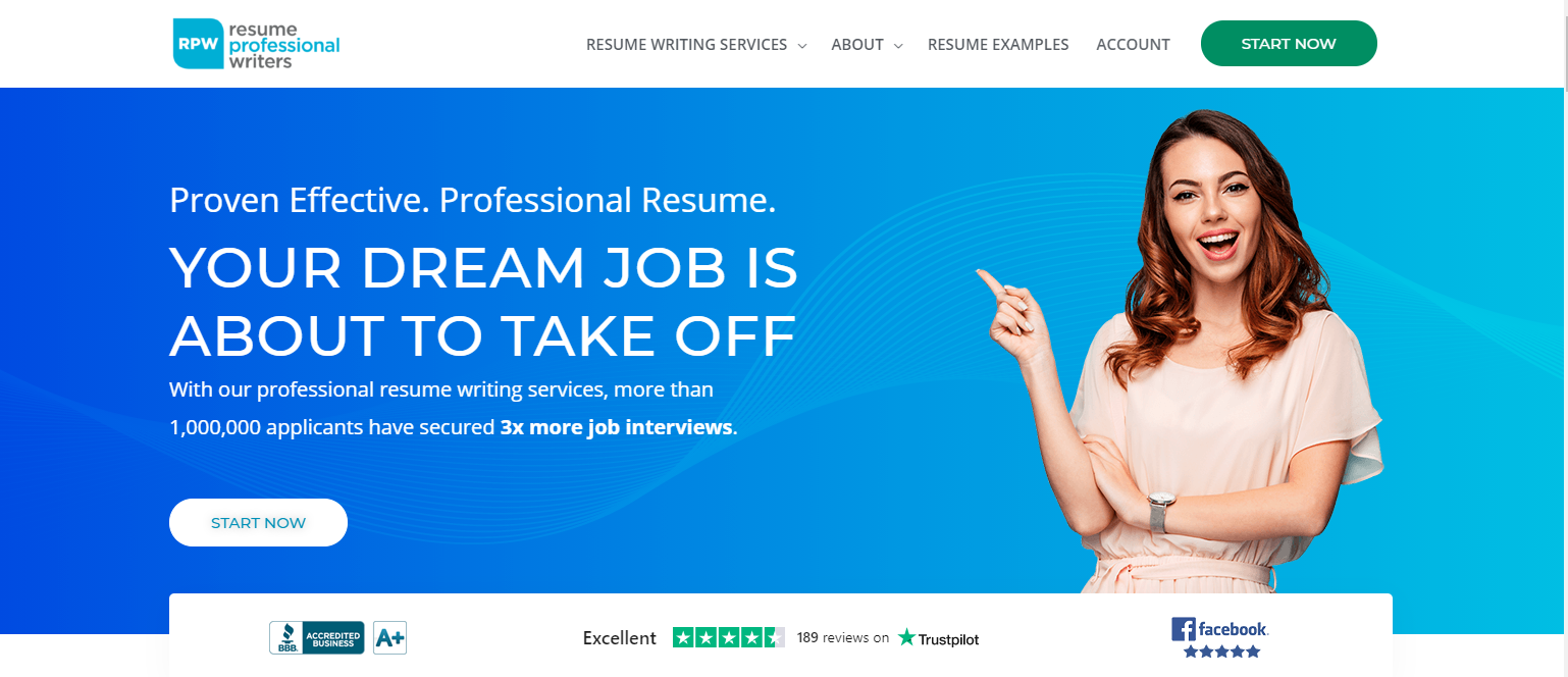 Best IT Resume Services - Resume Professional Writers Banner woman pointing at the tag line your dream job is about to take off